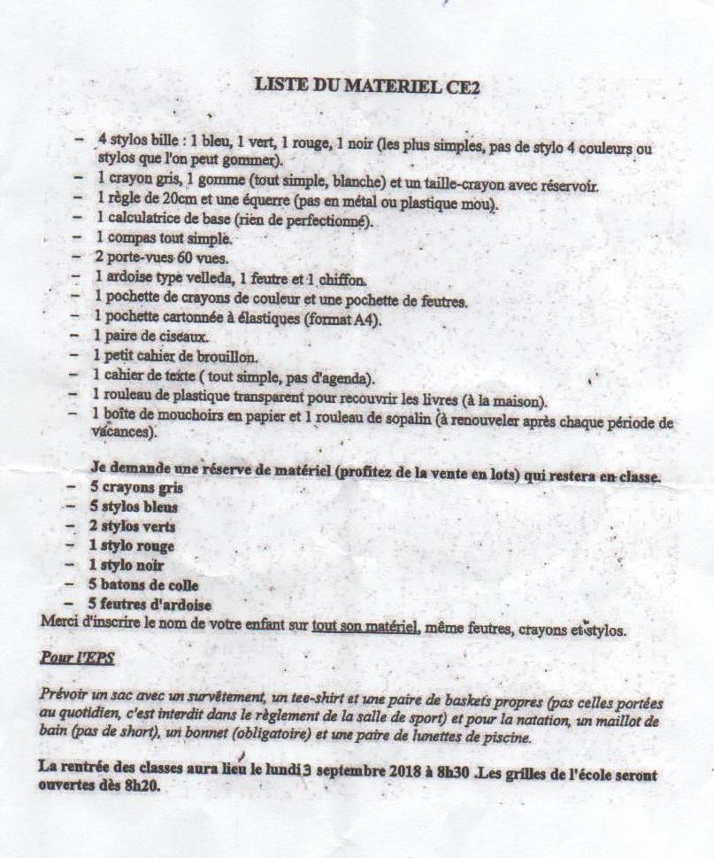 liste des fournitures ce2
