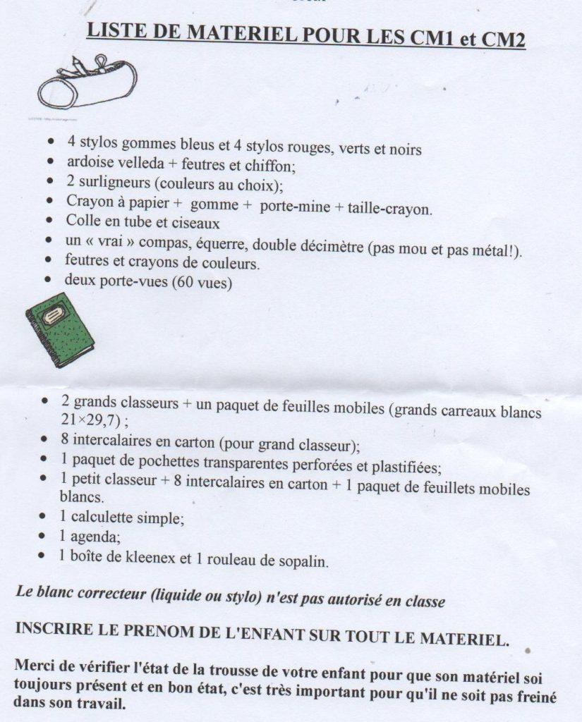 liste des fournitures scolaires CM2 CM1